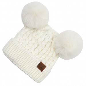 C.C HAT-2055-S  Cable Knit Pattern Solid Color Double Pom Beanie.  - One size fits most - 100% Acrylic