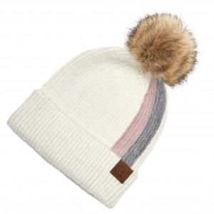 C.C HAT-2056 Two Stripe Fur Knit Pom Beanie.  - One size fits most - 75% Acrylic / 25% Nylon