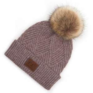 C.C HAT-2060 Diagonal Stripe Knit Pattern Pom Beanie with C.C Brand Leather Patch.  - One size fits most  - 47% Rayon / 31% PBT / 22% Nylon  - POM: 100% Faux Fur