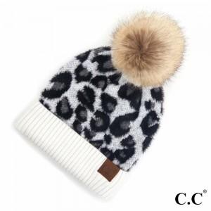 C.C HAT-2061 Leopard Print Pom Beanie.  - One size fits most  - 47% Rayon / 31% PBT / 22% Nylon