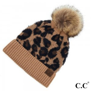 C.C HAT-2061 Leopard Print Pom Beanie.  - One size fits most  - 47% Rayon / 31% PBT / 22% Nylon
