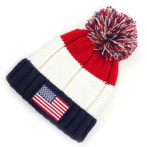 C.C HAT-2063 Knit Pom Beanie with Flag Patch.  - One size fits most - 100% Acrylic