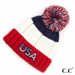 C.C HAT-2063 Knit Pom Beanie with USA Patch.  - One size fits most - 100% Acrylic