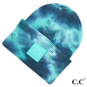 C.C HAT-7380 Tie-Dye Knit Beanie with C.C Brand Rubber Patch & Cuff.  - One size fits most  - 52% Viscose / 28% Polyester / 20% Nylon