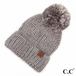 C.C HAT-7385 Multicolor Feather Yarn Knit Pom Beanie.  - One size fits most  - 85% Acrylic / 10% Nylon / 5% Polyester
