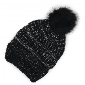Metallic Woven Knit Slouch Pom Beanie.  - One size fits most - 100% Polyester