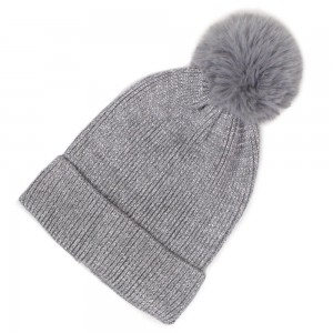 Metallic Knit Solid Pom Beanie.  - One size fits most - 100% Polyester