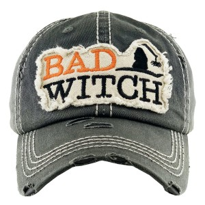 Vintage Distressed Halloween Baseball Cap Featuring Bad Witch Embroidered Detail.  - One size fits most - Adjustable Velcro Closure - 100% Cotton