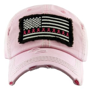 Vintage Distressed USA Breast Cancer Awareness Baseball Cap.  - One size fits most  - Adjustable Velcro Closure - 100% Cotton