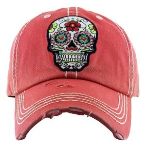 Vintage Distressed Sugar Skull Baseball Cap.  - One size fits most  - Adjustable Velcro Closure - 100% Cotton