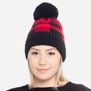 Faux Fur Lined Buffalo Check Knit Pom Beanie.  - One size fits most - 50% Acrylic / 50% Nylon