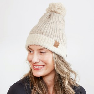 Women's Ribbed Knit Pom Beanie Featuring Wood Buttons for Attaching & Securing Face Mask.  - Side Wood Button for Attaching & Securing Face Mask - One size fits most  - 100% Acrylic