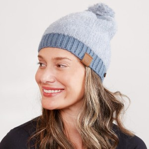Women's Faux Fur Pom Beanie Featuring Side Buttons For Attaching & Securing Face Mask.  - Side Wood Buttons for Attaching & Securing Face Mask - One size fits most  - 100% Acrylic