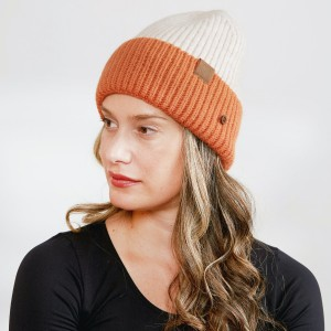 Women's Chunky Knit Cuff Beanie Featuring Wood Buttons For Attaching & Securing Face Mask.  - Side Wood Buttons for Attaching & Securing Face Mask  - One size fits most - 100% Acrylic