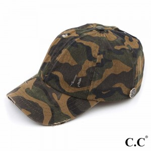 C.C BT-799 Distressed Denim Criss-Cross Ponytail Cap Featuring C.C Epoxy Side Button For Face Masks.  - C.C Side Button to Secure Face Mask - Elastic Criss-Cross High Ponytail Detail - One size fits most  - 100% Cotton  ** Mask Not Included.