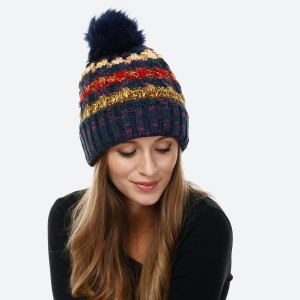 Fuzzy Lined Multicolor Chunky Knit Pom Beanie.  - One size fits most - 100% Acrylic