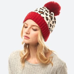 Chenille Knit Leopard Print Pom Beanie.  - One size fits most - 100% Polyester