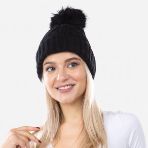 Cable Ribbed Knit Faux Fur Pom Beanie.  - One size fits most - 50% Viscose / 28% Polyester / 22% Nylon