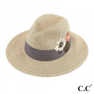 """C.C ST-3021 Floral Embroidered Heather Panama Hat  - One size - Brim Width: 3"""" - 100% Paper"""