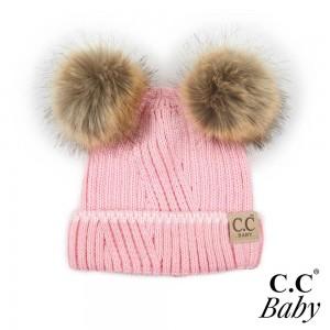 C.C BABY-920 Knit beanie with double faux fur pom pom.  -One size fits most: baby -Ivory trim  -100% Acrylic