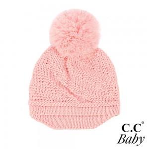 C.C BABY-2037-POM Diagonal Pattern Baby Brim Hat with Knit Pom  - One Size Fits Most - 100% Acrylic