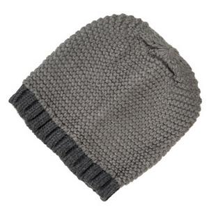 Light and dark gray, two tone knit beanie. 100% acrylic.