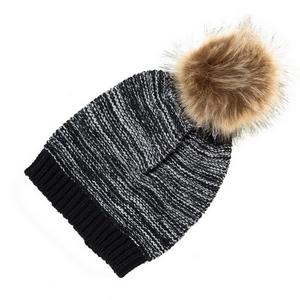 Black knit beanie with a faux fur pom pom on the top. 100% acrylic.