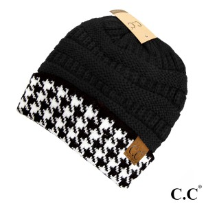 C.C HAT-12  Houndstooth Cuff Knit Beanie  - 100% Acrylic - One size fits most - Matches C.C CG-12 and SF-12
