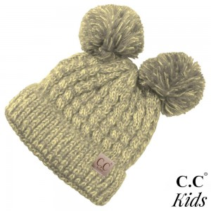 "C.C KID-23 Double pom beanie for kids  - 100% Acrylic - Band circumference is approximately:  11"" unstretched  16"" stretched - Approximately 6.5"" long from crown to band - Fit varies based on child's head height and shape"