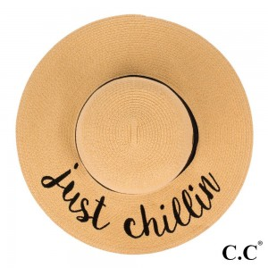 """C.C ST-2017 (Natural) """"Just Chillin"""" paper straw wide brim sun hat with ribbon  - One size fits most - Inside adjustable drawstring - Brim width 4.5"""" - 100% Paper"""