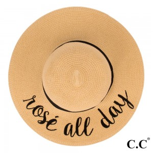 "C.C ST-2017 (Natural) ""Rose All Day"" paper straw wide brim sun hat with ribbon  - One size fits most - Inside adjustable drawstring - Brim width 4.5"" - 100% Paper"
