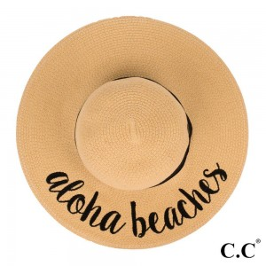 """C.C ST-2017 (Natural) """"Aloha Beaches"""" paper straw wide brim sun hat with ribbon  - One size fits most - Inside adjustable drawstring - Brim width 4.5"""" - 100% Paper"""