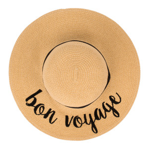 "C.C ST-2017 (Natural) ""Bon Voyage"" paper straw wide brim sun hat with ribbon  - One size fits most - Inside adjustable drawstring - Brim width 4.5"" - 100% Paper"