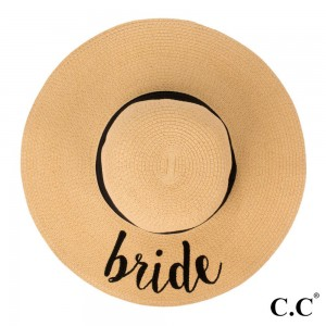 "C.C ST-2017 (Natural) Bride paper straw wide brim sun hat with ribbon  - One size fits most - Inside adjustable drawstring - Brim width 4.5"" - 100% Paper"