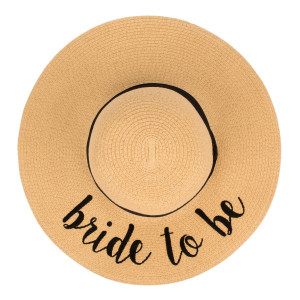 "C.C ST-2017 (Natural) ""Bride To Be"" paper straw wide brim sun hat with ribbon  - One size fits most - Inside adjustable drawstring - Brim width 4.5"" - 100% Paper"
