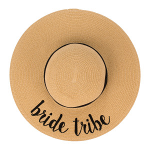 "C.C ST-2017 (Natural) ""Bride Tribe"" paper straw wide brim sun hat with ribbon  - One size fits most - Inside adjustable drawstring - Brim width 4.5"" - 100% Paper"
