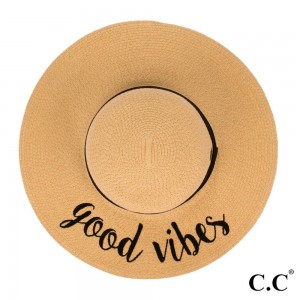 """C.C ST-2017 (Natural) """"Good Vibes"""" paper straw wide brim sun hat with ribbon  - One size fits most - Inside adjustable drawstring - Brim width 4.5"""" - 100% Paper"""