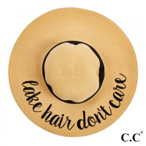 """C.C ST-2017 (Natural) """"Lake Hair Don't Care"""" paper straw wide brim sun hat with ribbon  - One size fits most - Inside adjustable drawstring - Brim width 4.5"""" - 100% Paper"""