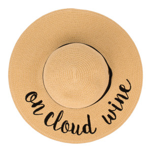 """C.C ST-2017 (Natural) """"On Cloud Wine"""" paper straw wide brim sun hat with ribbon  - One size fits most - Inside adjustable drawstring - Brim width 4.5"""" - 100% Paper"""