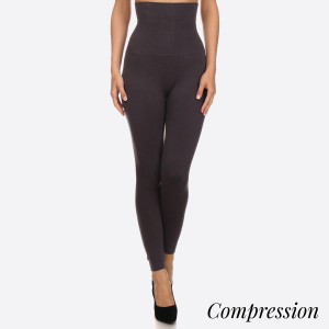 "Women's solid cotton high waist compression leggings.  • Long, skinny leg design • Does not ball or pill • Comfortable and easy pull-on style • Very Stretchy • Tummy Control • Hight Waist • 8"" Waist Band  - One size fits most 0-14 - 50% Cotton, 45% polyester, 5% spandex"