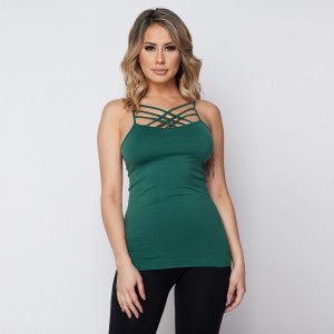 """Women's Solid Color Seamless Triple Criss Cross Camisole.  • Scoop-neck • Unique Crisscross Front • Spaghetti Straps • Ultra Soft • Stretchy Knit • Machine Wash • Imported  - One size fits most 0-14 - Approximately 22"""" L - 92% Nylon / 8% Spandex"""