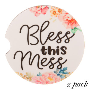 """""""Bless this Mess"""" floral printed car coaster set.   - Pack Breakdown: 2pcs / pack - Approximately 2"""" in diameter - Finger slot for easy removal - Condensation absorbing cork"""