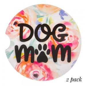 """Dog Mom"" floral printed car coaster set.   - Pack Breakdown: 2pcs / pack - Approximately 2"" in diameter - Finger slot for easy removal - Condensation absorbing cork"