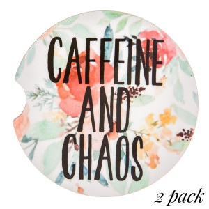 """""""Caffeine and Chaos"""" floral printed car coaster set.   - Pack Breakdown: 2pcs / pack - Approximately 2"""" in diameter - Finger slot for easy removal - Condensation absorbing cork"""