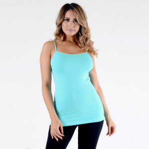 """Women's Solid Color Seamless Camisole.  • Spaghetti straps  • Seamless design for extra comfort  • Longline hem  • Soft and stretchy  • Fits like a glove  • Perfect for layering under sheer tops or by itself  • Imported   - One size fits most 0-14 - Approximately 18"""" L - 92% Nylon / 8% Spandex"""