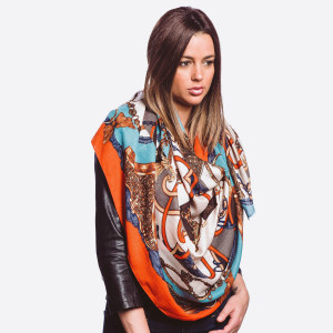 """Lightweight Designer Inspired Print Scarf.  - One size fits most  - Approximately 72"""" L x 32"""" W  - 100% Viscose"""