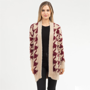 """Heavyweight Houndstooth Knit Cardigan.  - One size fits most 0-14 - Approximately 30"""" L - 50% Nylon, 50% Acrylic"""