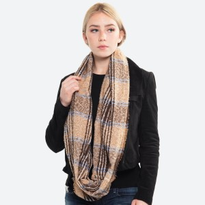 """Multicolor plaid infinity scarf.  - Approximately 21.5"""" W x 63"""" L  - 100% Polyester"""