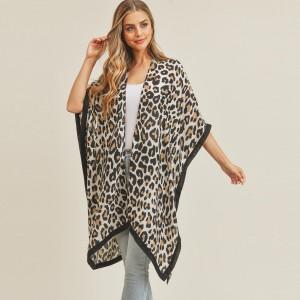 "Women's Lightweight Leopard Print Kimono.  - Approximately 60"" L  - 100% Polyester"