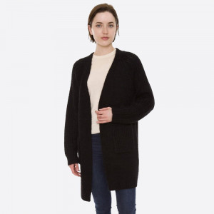 """Solid Color Fuzzy Knit Cardigan with Pockets.  - One size fits most 0-14 - Approximately 30"""" L - 100% Acrylic"""